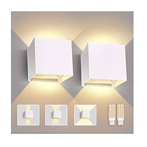 Imoli 2 Pièces Appliques Murales Eavec Ampoule LED G9 Remplaçable Lampe Murale Interieur/Exterieur 3000K Blanc Chaud Etanche IP44 Angle de Faisceau Réglable Applique Mural