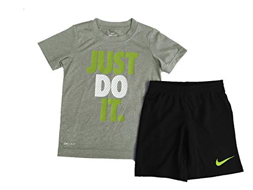 Nike Little Boys Dri Fit Short Sleeve T-Shirt and Shorts 2 Pcs Set, Dark Gray Heather(66C184-GK6) 18 Months