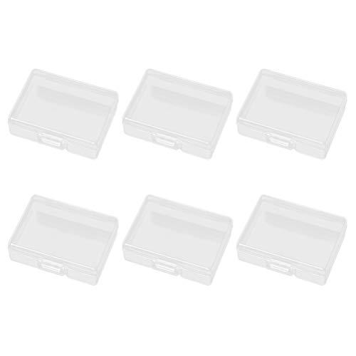 SUPVOX 6 Unids Rectangular Mini Caja de Almacenamiento Transparente de plástico Transparente Transparente Organizador de la colección de Joyas con Tapa para Cuentas aretes Pernos