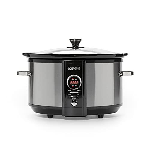 Brabantia BBEK1083 - Cocina lenta digital, acero inoxidable, tiempo de cocción ajustable, temporizador programable, 6,5 litros, 3 ajustes de temperatura