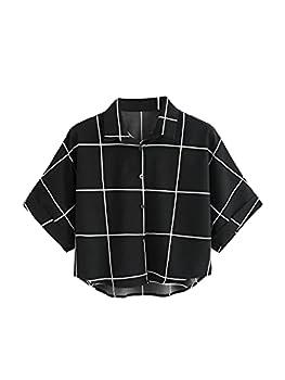 MakeMeChic Women s Summer Short Sleeve Plaid Button Down T Shirt Blouse Crop Top A Black M