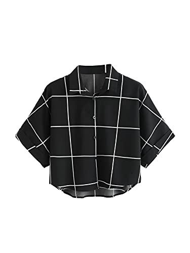 MakeMeChic Women's Summer Short Sleeve Plaid Button Down T Shirt...