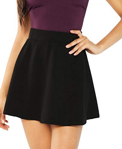 SheIn Women's Basic Solid Flared Mini Skater Skirt X-Small Black#3