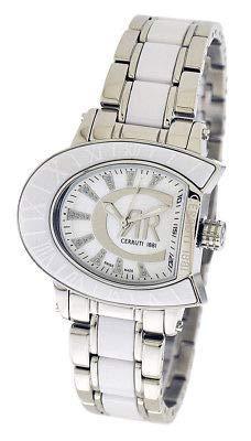 Cerruti 1881 Damen-Armbanduhr mit Logo, zweifarbig, Silber mit weißem Keramik-Armband, Diamant CRWO013A211U