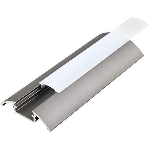 KIT de 6 x 1 mètre P4 Profilé en aluminium ARGENT pour les bandes LED avec couvercles satinés, bouchons et clips de fixation