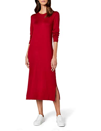 edc by ESPRIT Damen 087CC1E001 Kleid, Rot (Dark Red 610), Small