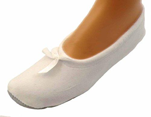 Unbekannt Damen Ballerinas Hausschuhe Ballettschuhe, Farben alle:weiß, Größe:36/37