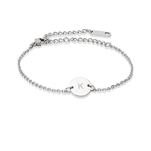 Stainless Steel Initial Bracelet Delicate Coin Letter K Bracelet Dainty Small Disc Name Bracelet Personalized Monogram Charm Bracelet for Women Girls