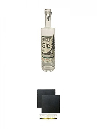 Foersters Heide Gin 0,5 Liter + Schiefer Glasuntersetzer eckig ca. 9,5 cm Ø 2 Stück
