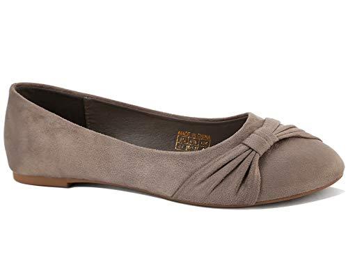 MaxMuxun Damen Ballerinas Frühjahr Sommer Vintage Mokassin Flache Loafer Hellbraun Größe 37 EU