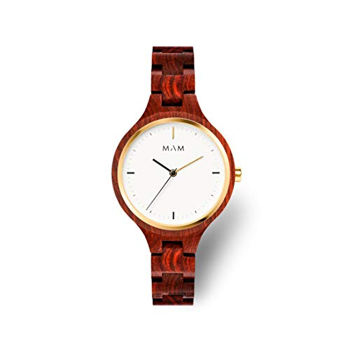 MAM Originals Damen Uhr Analog Quarz-Citizen 1L22 mit Holz Armband Geese Red