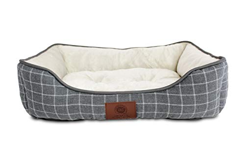 "American Kennel Club Plaid Pet Cuddler Bed for Dogs & Cats, Gray, 25""X19""X7"", Model Number: AKC6379GRAY"
