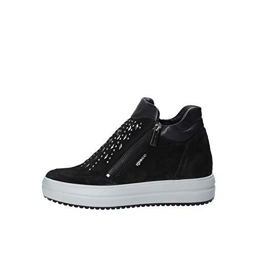 IGI&CO 4153800 Nero Sneakers Zeppa Interna Stivaletto Donna con Gomma Alta