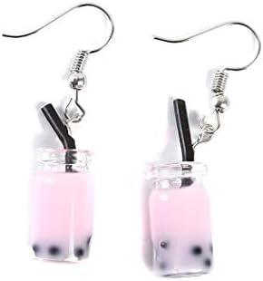 CH Cute Pearl Milk Tea Dangle Earrings Funny Earrings for Women Girls Valentine s Day Earrings product image