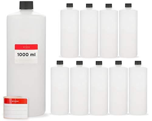 10 x 1000 ml kunststof flessen, 1 liter plastic flessen van HDPE-kunststof, ronde flessen met zwarte schroefsluitingen of deksels, lege flessen met schroefdraadmaat 25 mm, incl. beschrijfbare etiketten.