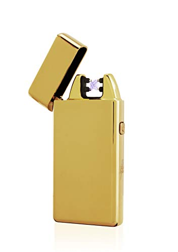 TESLA Lighter TESLA Lighter T05 Lichtbogen Feuerzeug, Plasma Single-Arc, elektronisch wiederaufladbar, aufladbar mit Strom per USB, ohne Gas und Benzin, mit Ladekabel, in edler Geschenkverpackung Gold Gold