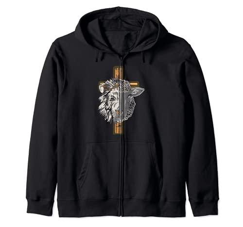 León de Judá y cordero inspirado en el calvario con regalo de cruz Sudadera con Capucha