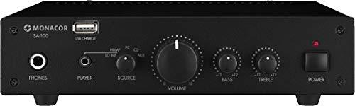 Monacor SA-100 Compacte universele stereo-versterker, hifi-versterker met USB-poort aan de voorzijde voor stroomvoorziening en het opladen van externe apparaten, in zwart