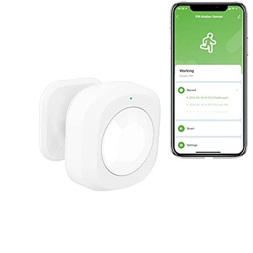 Sensor de Movimiento, PIR detección de movimiento ángulo de 110º - 7m Tuya Smart Security APP Smart Life, Requiere Hub Zigbee, incluye batería de litio de 3V