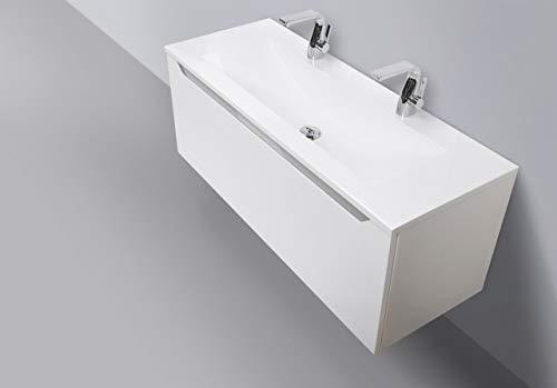 Intarbad ~ Design Badmöbel Set mit 120 cm Doppelwaschtisch Grau Hochglanz Griffleiste Halifax Eiche Natur IB1129