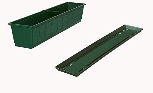 Fuchs seit 1895 Balkonkasten Standard mit passendem Untersetzer, Farben:dunkelgrün, Länge:40 cm