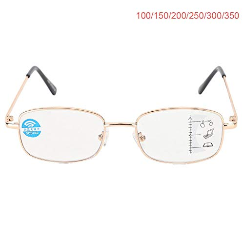 Dioche Multifokale Lesebrille - Tragbare leichte Anti-Blau-Strahlen-Lesebrille Unisex-Brille Anti-Eyestrain-Brille Harzvergrößerungsermüdung Entlastungsfestigkeit Anti-Augen-Belastung mit Etui(250)