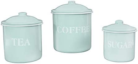 Creative Co-op Metal Containers with Lids, Coffee, Tea, Sugar (Set of 3 Sizes/Designs) Food Storage, White