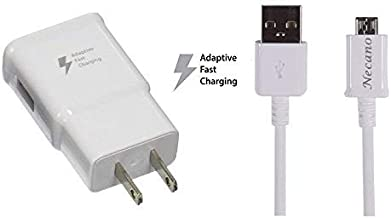 Galaxy S7 S7 Edge Note 4 Note 2 S4, S6, S6 Edge, S6 Edge for Samsung Adaptive Fast Charger Micro USB 2.0 Cable Kit {Wall Charger + 5FT Cable} Fast Charging for up to 50% Faster (White)Quality Premium