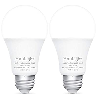 HouLight Dusk-to-Dawn 800 Lumen A19 LED Light Bulb, 60-Watt Equivalent, 8-Watt 5000K, Daylight White (2 Pack), UL Certified, Upgraded Sensing Technology