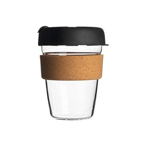 Rink Drink Taza Reutilizable del Viaje - Copa del Viajero Taza de té, de café con Silicona Tapa, Cork Manga - Ecológico - 350 ml - Negro