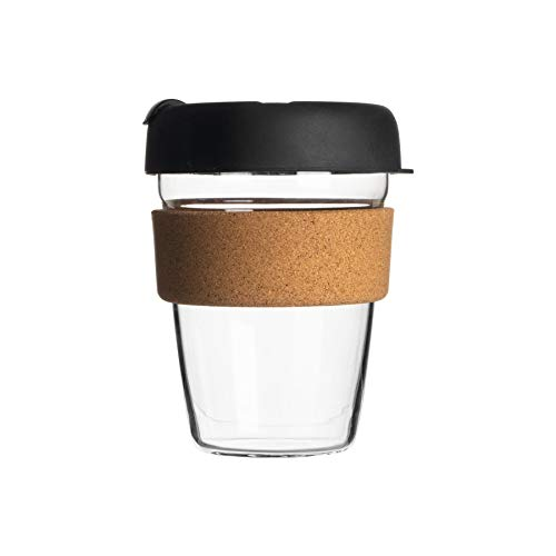 Rink Drink Reusable Travel Mug - Glass Commuter Cup for Tea, Coffee with Silicone Lid, Cork Sleeve - Eco-Friendly - 350ml - Black