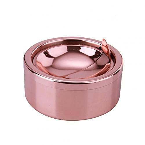 QWSNED Cenicero, cenicero de acero inoxidable a prueba de viento de forma redonda sin humo, rotación con tapa, durable portátil conveniente
