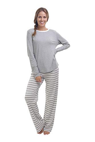 jijamas Incredibly Soft Pima Cotton Women's Pajamas Set - The Soul Mate - Heather Grey L