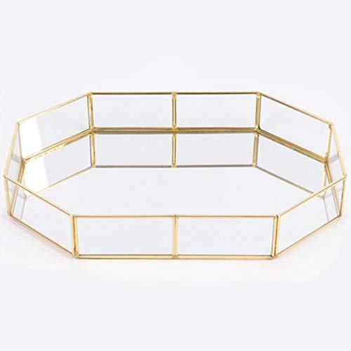 advancethy Povanjer Spiegeltablett 31.5x21.5x5cm Schmuck Ablageschale Glas Vintage Schmuck Dekoration Metall Verspiegelt Verzierten Nordischen Ins Gold für Schmuck Desktop Dekorative