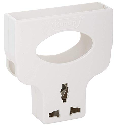 Kundip Mobile Polycarbonate Charging Stand/Wall Holder with Universal 3 Pin Plug (White)