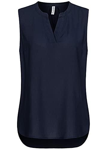 Seventyseven Lifestyle Damen Viskose V-Neck Blusen Top Vokuhila Navy blau