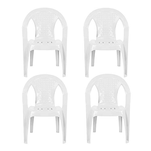 Plastic Garden Chairs - WHITE Set of 4 - Stackable with Woven Detail Low Back Design - Indoor or Outdoor Use - Suitable for Patio, Parties, Picnics or Camping.