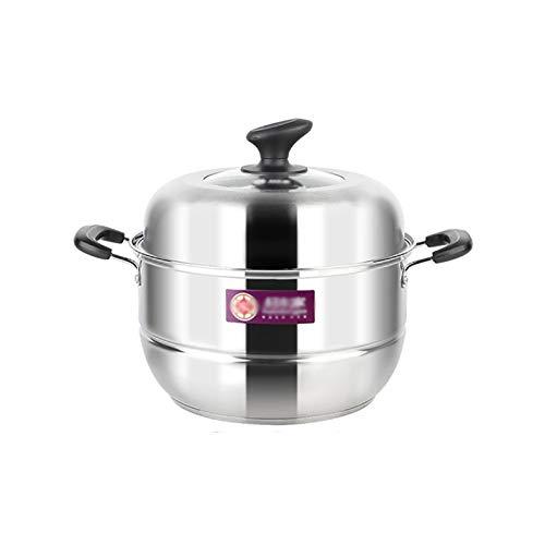 Olla de cocción al vapor, acero inoxidable 304, olla de sopa/olla caliente, 2 capas 28 cm, hogar/comercial, para cocina de inducción/estufa de gas (2-4 personas)