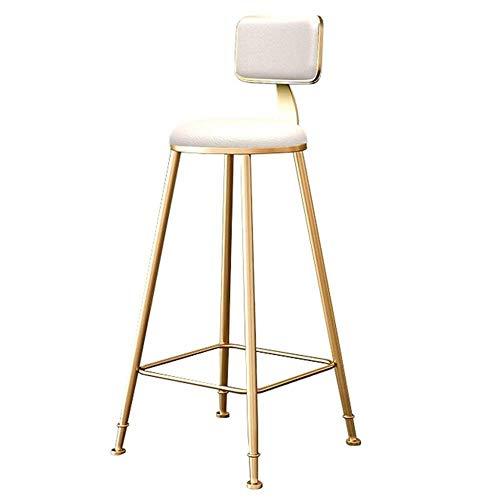 BDLYZ Yxsd - Taburetes de barra de metal para mostrador, asiento de piel sintética, sillas altas de comedor con respaldo para cocina, pub, café/casa, cojín blanco (tamaño : altura del asiento 75 cm)