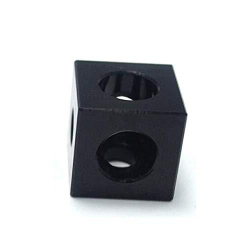 L-Yune,bolt 3D-Drucker-Teile 2020 Aluminium-Block Cube Prism-Connector Rad Regulator Cube Corner for V-Nut Dreiweg ECKHALTERUNG (Farbe : Schwarz, Größe : 6pcs)