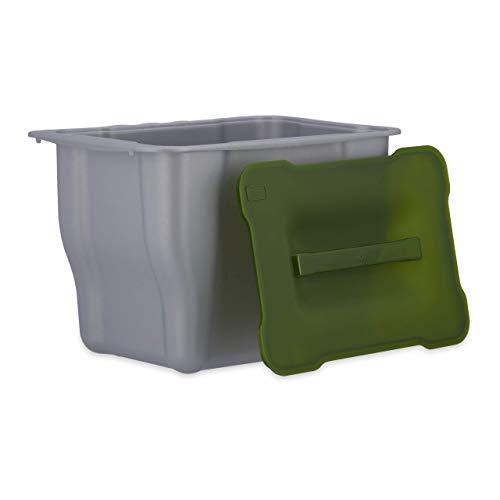 Relaxdays, Abfallsammler, Kitchenbox für Biomüll, Multifunktionsbox, mit Deckel, 5 Liter, grau Abfallbehälter küche, Plastik, Anthrazit, 15.3 x 24.7 x 17.5 cm