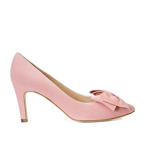 Milena - Zapatos Tacones de Piel para Mujer con Lazo - Hechos en España - Tacon Alto de Aguja 7 cm - Forro Piel - Moda Tendencia Salones Stilettos Elegantes - Piel