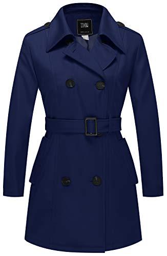 ZSHOW Damen Zweireihige Knopfverschlüsse Mäntel Schulterklappen Jacke mit Verstellbare Gürtel Zweireiher Trenchcoat Mantel Navy-01 M