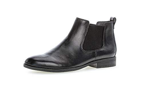 Gabor Damen Stiefeletten, Frauen Chelsea Boots, Women Woman Freizeit Stiefel halbstiefel Bootie Schlupfstiefel flach Lady,schwarz,37.5 EU / 4.5 UK