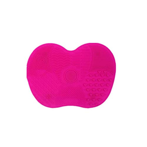 1pc maquillaje cepillo de limpieza de Silicón cepillo cosméticos almohadilla limpiadora de un cepillo más limpio portátil con las herramientas del depurador (Rose Red)
