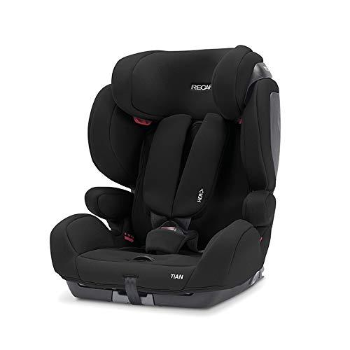 Recaro Kids, Kindersitz Tian, Autokindersitz (9-36 kg), Komfort und Sicherheit, Universaleinbau, Gruppe 1-2-3, Isofix-Verbindungen Gruppe 2-3 (optional), Verstellbar, Core Deep Black