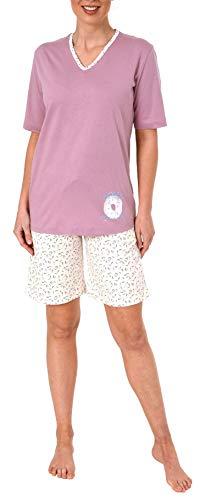 Süsser Damen Shorty-Pyjama Schlafanzug Kurzarm mit Donut als Motiv - 63863, Farbe:Altrose, Größe2:44/46