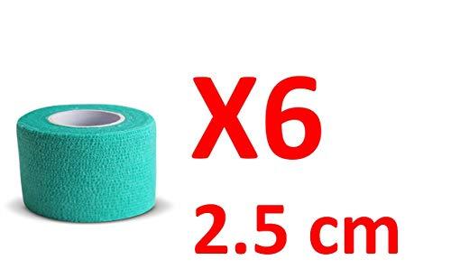 PintoMed Bendaggio COESIVO - Verde Garza Elastica, 6 Rotoli x 2.5 cm x 4.5 m autoadesiva Flessibile Bende, qualità Professionale, Primo Soccorso - Spo