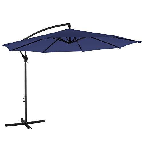 SONGMICS Sonnenschirm, Ampelschirm Ø 300 cm, mit Kurbel zum Öffnen und Schließen, Sonnenschutz, Gartenschirm, UV-Schutz bis UPF 50+, für Garten, Terrasse, Marineblau GPU016L01