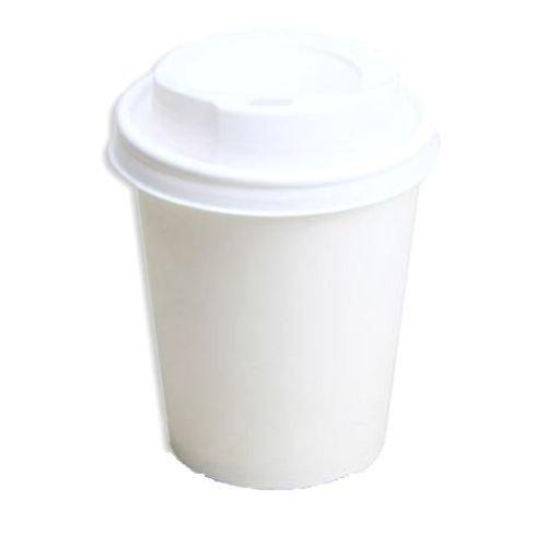 50 Hartpapierbecher Pappbecher weiß 0,2 l mit Deckel für Kaffeebecher Coffee to go Kakaobecher Heiß- und Kaltgetränkebecher